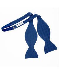 Turnbull & Asser - Multicolor Tonal Blue Square-in-square Silk Bow Tie for Men - Lyst