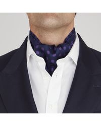 Turnbull & Asser - Blue Navy And Purple Large Spot Silk Ascot Tie for Men - Lyst
