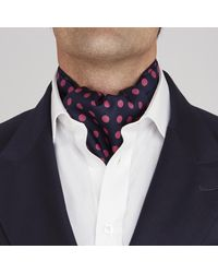 Turnbull & Asser - Blue Navy And Pink Large Spot Silk Ascot Tie for Men - Lyst