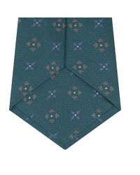 Turnbull & Asser Blue Turquoise Crosses Silk Tie for men