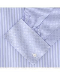Turnbull & Asser Blue Highlight Stripe Shirt With Regent Collar And Double Cuffs for men