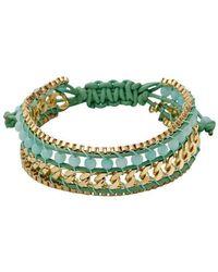Pilgrim Gold Plated Green Bracelet