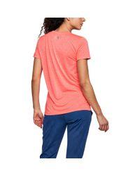 Under Armour - Pink Women's Ua Techtm Twist Graphic V-neck - Lyst
