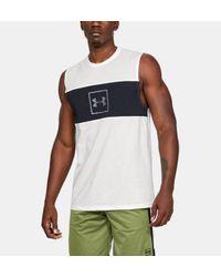 Camiseta sin mangas UA Sportstyle Cotton Mesh para hombre Under Armour de hombre de color White
