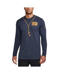 Under Armour - Blue Men's Notre Dame Ua Tri-blend Long Sleeve T-shirt for Men - Lyst