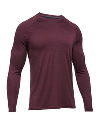 Under Armour Red Men's Ua Techtm Patterned Long Sleeve T-shirt for men