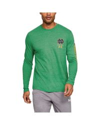 hot sale online 649ac 21008 Men's Notre Dame Ua Triblend Irish Wear Green Long Sleeve