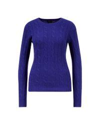 Ralph Lauren Blue Cashmere-Pullover mit Zopfmuster Blau