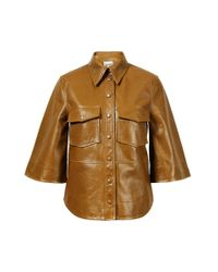Ganni Natural Lederhemd mit 3/4 Ärmel Beige