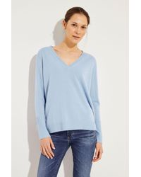 Allude Blue Cashmere-Pullover mit V-Neck Blau 100% Cashmere
