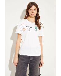 Saint Laurent Multicolor T-Shirt mit Logoapplikation Weiß- T-Shirt in Weiß