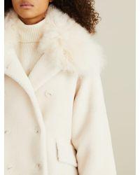Meteo by Yves Salomon Multicolor Fake Fur Mantel mit Lammfellkragen Crème