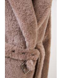 Brunello Cucinelli Brown Cashmere-Pelz-Mantel mit Gürtel Braun