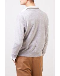 Brunello Cucinelli Gray Cashmere-Cardigan mit Perlenverzierung Hellgrau 100% Cashmere Made in Italy