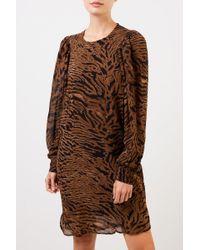 Ganni Brown Kurzes Kleid mit Tigerprint Braun/Schwarz