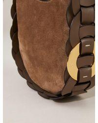 Chloé Brown Handtasche 'Darryl Mini' aus Materialmix Army Green