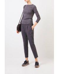 Brunello Cucinelli Gray Cashmere-Pullover mit Lurexdetails Grau