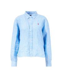 Ralph Lauren Blue Lässige gestreifte Bluse Blau/Weiß