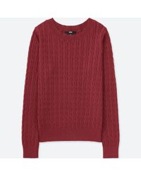 0504063c160 Lyst - Uniqlo Women Cotton Cashmere Cable Boat Neck Sweater in Red