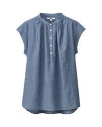 Uniqlo | Blue Women Indigo Short Sleeve Blouse | Lyst