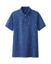 Uniqlo - Blue Men's Dry Pique Anchor Print Polo Shirt for Men - Lyst