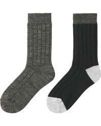 Uniqlo | Gray Women Heattech Socks 2p (rib) | Lyst