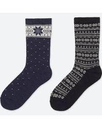 Uniqlo - Blue Women Heattech Terry Socks (2 Pairs) - Lyst