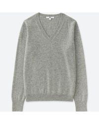 Uniqlo - Gray Cashmere V Neck Sweater - Lyst