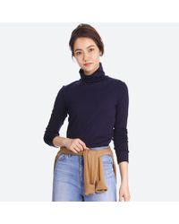 Uniqlo | Blue Women Supima Cotton Long-sleeve Turtleneck | Lyst