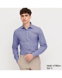 Camisa Fácil Cuidado Elàstica Slim Fit Cuadros Uniqlo de hombre de color Blue