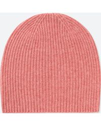 Uniqlo Cashmere Knitted Beanie Hat in Pink - Lyst 3d7a3eeab1f1