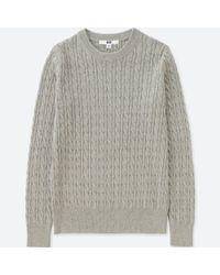 Uniqlo - Gray Women Cotton Cashmere Cable Crewneck Sweater - Lyst