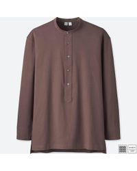 Uniqlo - Brown Men U Supima® Cotton Long-sleeve Pullover Shirt for Men - Lyst