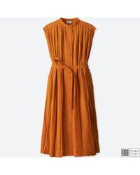e1d58a98f0 Uniqlo U Pleated Sleeveless Shirt Dress in Orange - Lyst