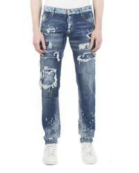 DSquared²   Blue Bleached Destroyed Jeans for Men   Lyst