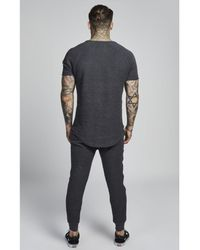 Siksilk Gray Reverse Flannel Curved Hem Sweat for men