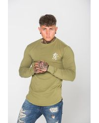 Gym King Green Gk Long Sleeve Fitted T-shirt for men