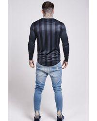 Siksilk - Black Long Sleeve Shadow Stripe Curved Hem Tee for Men - Lyst