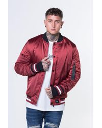 009c146ac Sixth June Satin Bomber Jacket in Red for Men - Lyst