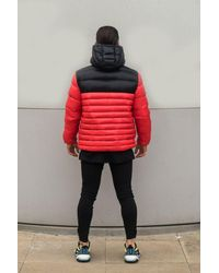 Sinners Attire Red Pause Puffer Jacket for men