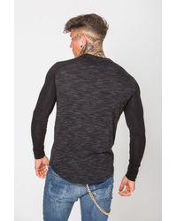 Gym King Black Gk Long Sleeve Contrast Fitted T-shirt for men