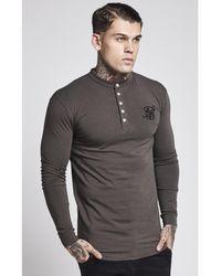 Siksilk Gray L/s Jersey Grandad Collar Tee for men