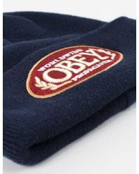 Obey - Blue Smokie Beanie Hat for Men - Lyst
