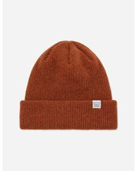 Norse Projects Brown Norse Beanie Hat for men