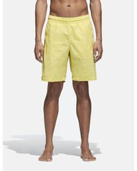 Adidas Originals Yellow Adidas 3 Stripes Swim Shorts for men