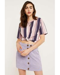 Urban Outfitters Uo Pink Vertical Stripe Short-sleeve T-shirt