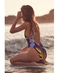 Out From Under Purple Printed Scoop Back One-piece Swimsuit