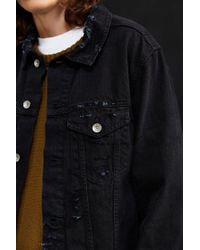 Urban Outfitters - Black Uo Damaged Denim Trucker Jacket for Men - Lyst