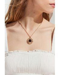 Urban Outfitters Metallic Stone Roses Statement Pendant Necklace