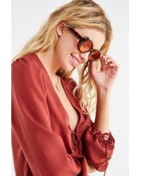 Urban Outfitters - Brown Venice Oval Sunglasses - Lyst